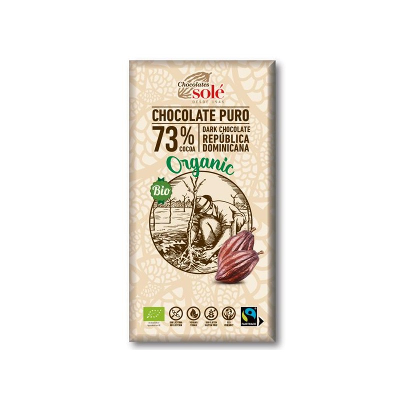 Chocolate Negro 73% Bio 100 gr Sole