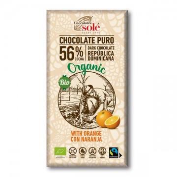 Chocolate Negro 56% con Naranja Bio 100g
