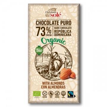 Chocolate puro 73% con almendra Bio